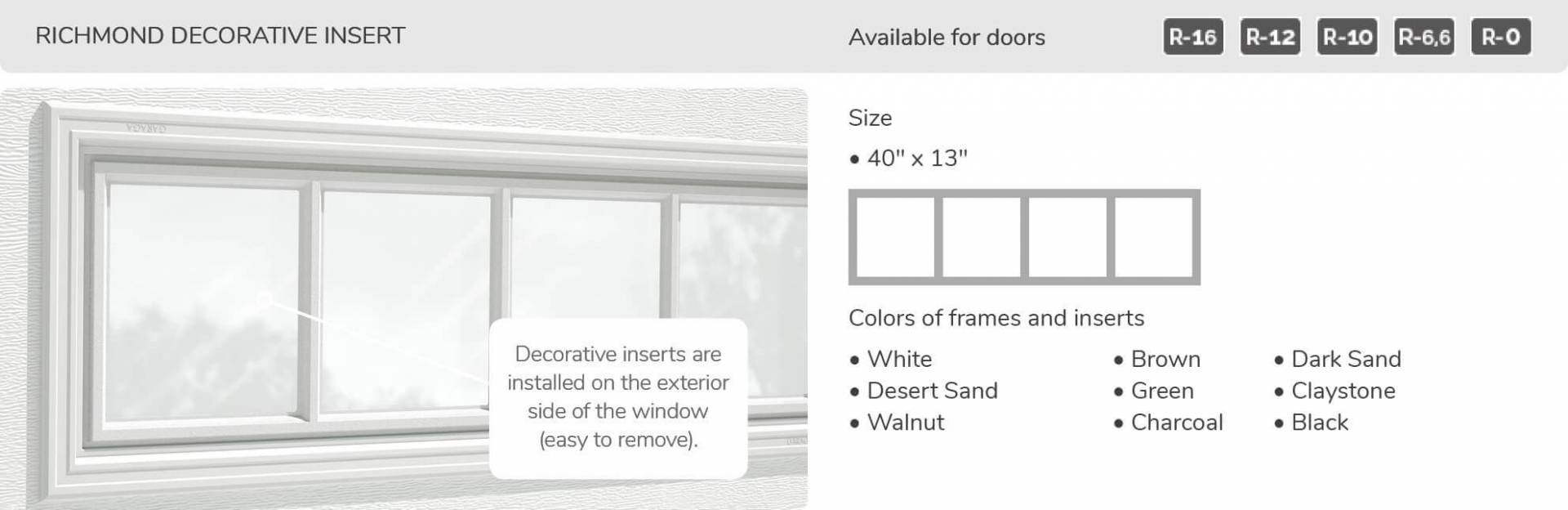 "Richmond Decorative Insert, 40"" x 13"", available for doors R-16, R-12, R-10, R-6.6, R-0"